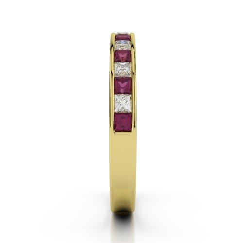 Or jaune 18carats 0,51CT G-H/VS Certifié Coupe ronde Rubis et diamants Agdr-1135