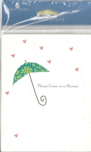 Bridal Shower Invitations Umbrella (Please Come to a Shower! Invitations 10 Count with Envelopes Bridal Shower Umbrella)