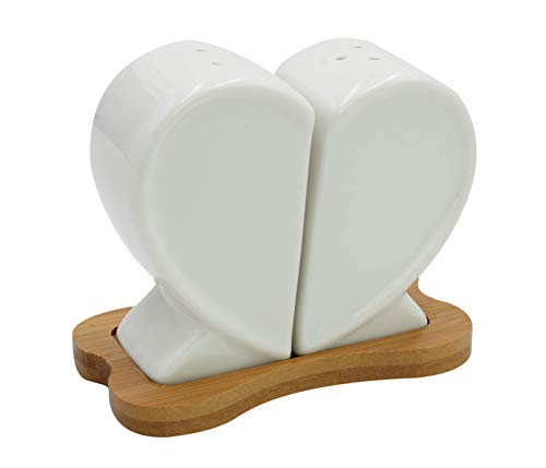 3 Piece Set Ceramic Heart Figurine Salt And Pepper Shakers Set Bamboo