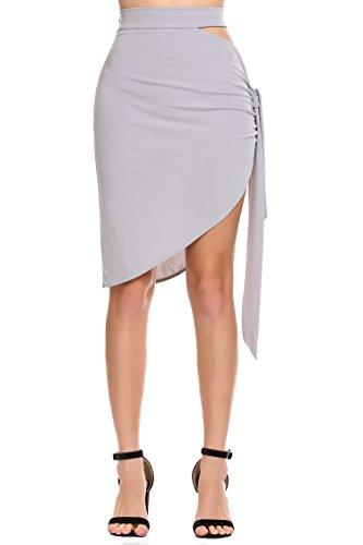 Zeagoo Women Elastic High Waisted Maxi Skirts, Double Thigh High Side Split Beach Skirts Grey Side Split Double Leather