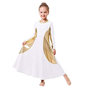 IBAKOM Girls Praise Liturgical Worship Full Length Metallic Gold Dance Dress Loose Fit Dancewear Tunic Circle Costume