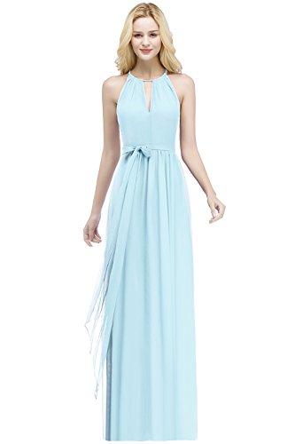 dab7307870a Femme Longue Bleu Soirée En Mousseline Demoiselle Avec Ceinture Robe Ouvert  Dos Col Rond De Babyonlinedress ...