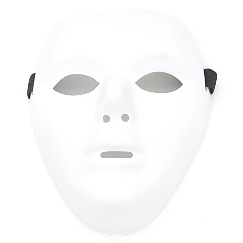 All White Mask (Thilo Scary White Blank Face Masks for Halloween DIY (Male, White))