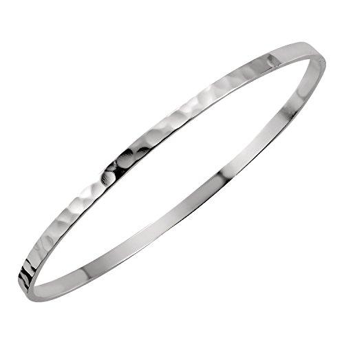Women's 925 Solid Silver Classic Hoop Bangle Bracelets - 4