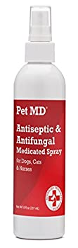 Pet MD Medicated spray is an alcohol-free antiseptic (antibacterial and antifungal) formulation designed for dogs, cats and horses with dermatological conditions that are responsive to chlorhexidine and ketoconazole. It also contains Essentia...