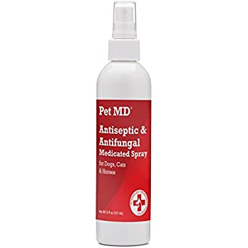Pet MD Antiseptic and Antifungal Medicated Spray for Dogs, Cats and Horses with Chlorhexidine, Ketoconazole, Essential Fatty Acids, Aloe and Vitamin E - 8 oz
