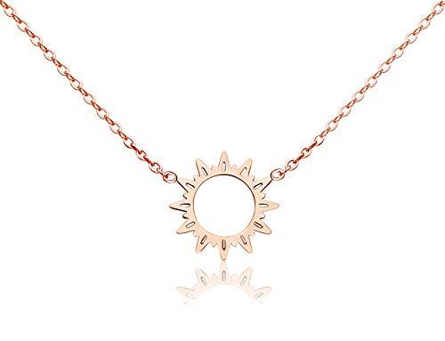 KristLand - 18k Gold Plated Titanium Steel Cute Sun Flower Short Necklace Rose Gold Color Delicate Adjustable Choker Sunshine