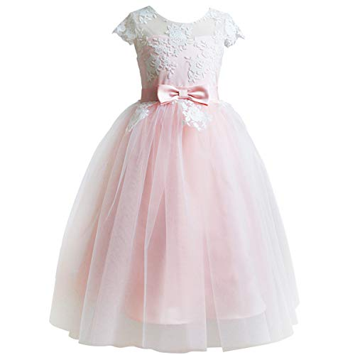 Pink Flower Girls Lace Bridesmaid Dresses Long A line Tulle Wedding Princess Pageant Party Gown 2-13Y
