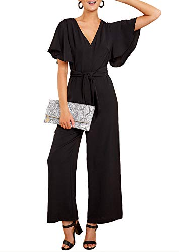 (Azokoe Women Summer Casual V Neck Short Flutter Sleeve Belted High Waisted Long Pants Wide Legs Jumpsuit Romper Overall Work Playsuit Black L Size 12 14)