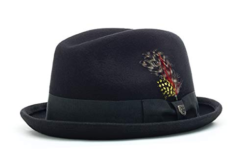 Brixton Men's Gain Fedora Hat, Black, Medium (Real Fedora)