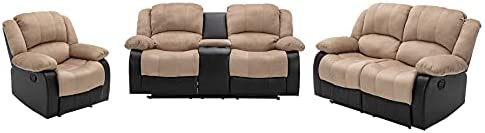 Nathaniel Home 3 Pieces PU Leather Sofa Set with Cup Holder Storage Footrest Comfortable Family Recliner for Living Room Bedroom Home Theater Seating, Beige