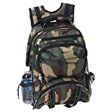 Extreme Pak Invisible Pattern Camo Water Repellent Backpack Multiple Zippered Closure Pockets, Bags Central