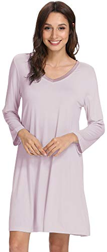 (WiWi Soft Bamboo Long Sleeve Nightgowns for Women V Neck Sleep Shirt S-XXXXL(4XL), Light Purple, Medium)