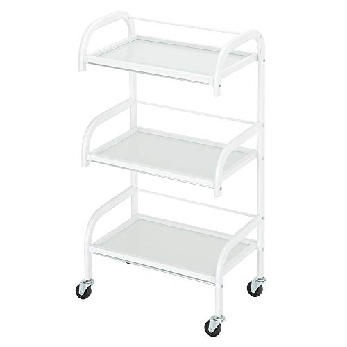Byya 3 Tiers Salon Barber Trolley Cart on Wheels,Glass Hairdressing Rolling Utility Storage Organizer, Beauty SPA Tool Holder,Salon Trolley Hairdresser Barber Beauty Storage Cart
