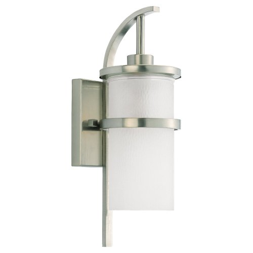 Sea Gull Lighting 88117-962 Outdoor Single-Light Wall Lantern, Brushed Nickel Finish For Sale