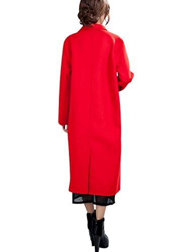 Cachemire Couleur Femmes Youlee Hiver Unie Orange Manteau Laine Zawqp7