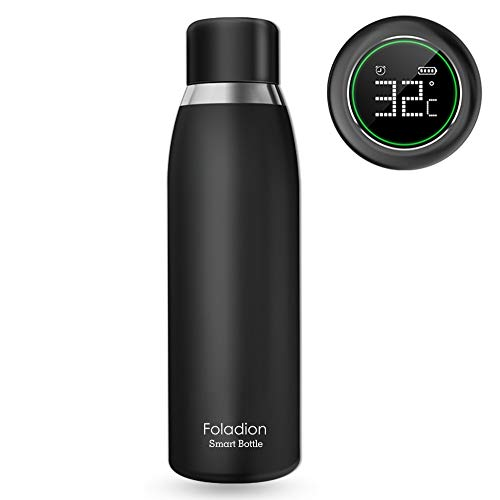 Water Hydracoach Bottle (Foladion Smart Water Bottle, 500ml Stainless Steel Vacuum Insulated, LCD Touch Screen, Temperature Indicator, Drinking Water Reminder, Keep Heat&Cold, Longer Battery Life, FDA Safty (Black))