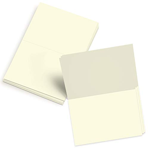 Cream Invitations (5x7 Blank Cream/Off-White/Natural Pre-Scored Cardstock - Perfect for Business, Invitations, Bridal Shower, Birthday, Interoffice, Invitation Letter, Weddings and All Occasion – Bulk Set of 50)