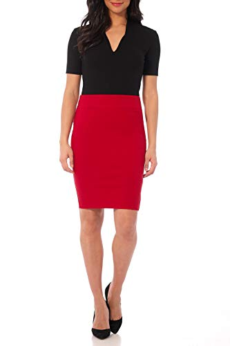 Rekucci Women's Ease in to Comfort Fit Perfect Midi Pencil Skirt (Small,Red)