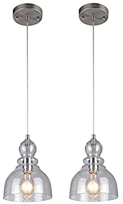 Westinghouse One-Light Indoor Mini Pendant, Brushed Nickel Finish with Clear Seeded Glass 2 Pack