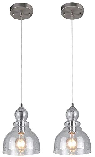 Westinghouse One-Light Indoor Mini Pendant, Brushed Nickel Finish with Clear Seeded Glass 2 Pack (Nickel Mini Brushed Pendant)