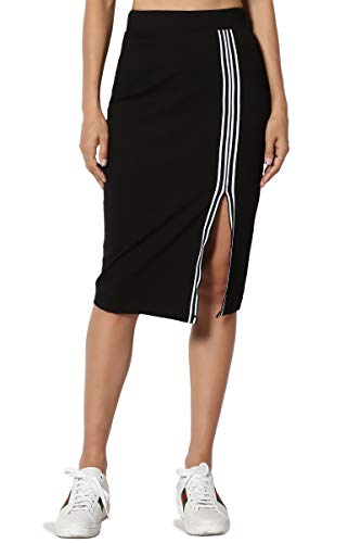 - TheMogan Junior's Side Stripe & Slit Stretch Ponte Knit Midi Pencil Skirt Black L