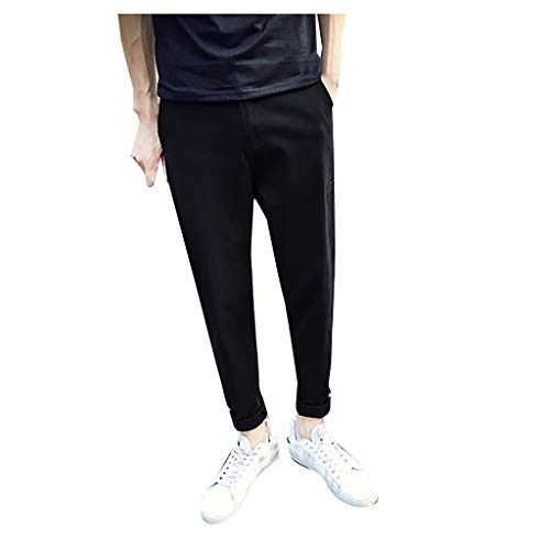- ♞Deadness-Mens Men's Flat-Front Chino Pant Casual Straight Pants Solid Color Waistband Wild Males Pants Black