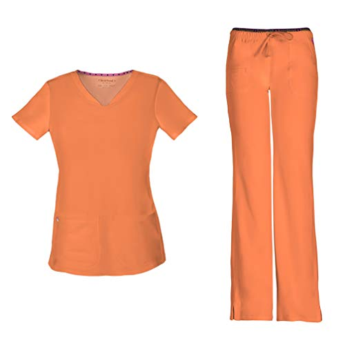 - HeartSoul Women's Pitter-Pat Shaped V-Neck Scrub Top 20710 & Heartbreaker Heart Soul Drawstring Scrub Pants 20110 Medical Scrub Set (Orange Pop - X-Large/XL Petite)