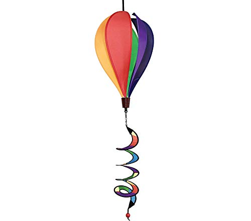 Outdoor Garden Backyard Décor 6 Panel Rainbow Hot Air Balloon - Wind Spinner Includes Curlie Tail - Colorful Kinetic Hanging Decoration