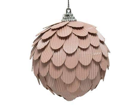 Kaemingk Blush Pink With Ribbed Finish 8 cm - Christmas Tree Bauble