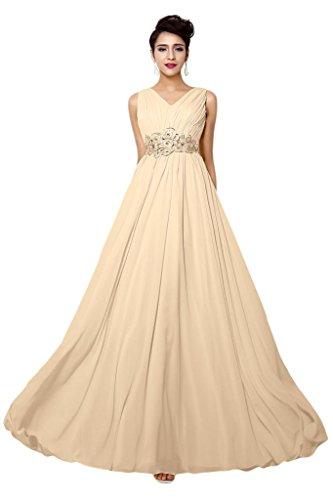 Promgirl House Elegant Chiffon A Linie V-Ausschnitt Abendkleider Ballkleider Lang Festkleider-34 Champagner