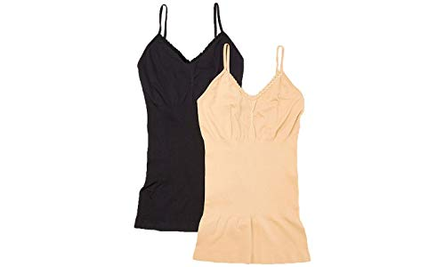 (EAG Women's Lace Trim Firm Compression Shaping Camisole in Regular and Plus Size (2-Pack) (Large, Black, Nude))