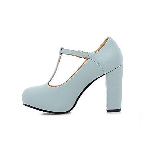 AgooLar Damen PU Hoher Absatz Rund Zehe Rein Schnalle Pumps Schuhe Blau