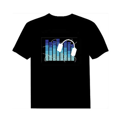 (Sound Activated Led T Shirt Light Up and Down Flashing Equalizer El T-Shirt White Headset Asian Xs)