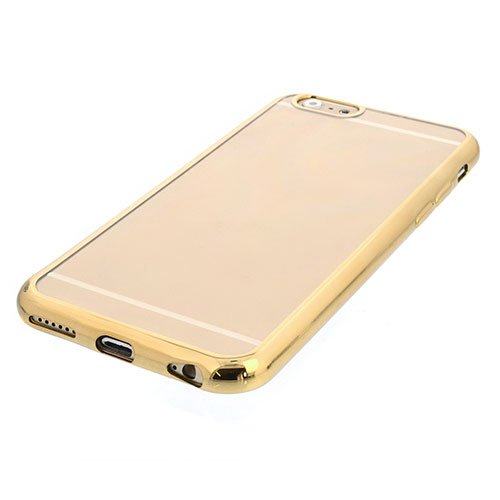 Silikon Case für iPhone 6, 6S - Schutz Handy Hülle Cover - Gold / Transparent