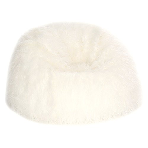 Acanva Large Plush Faux Fur Teardrop Slacker Bean Bag Chair for Adult and kid, White by Acanva