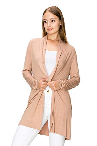 54d7d8e0fa1 Galleon - EttelLut Long Open Front Lightweight Cardigan Sweaters Regular  And Plus Size Coffee XXL