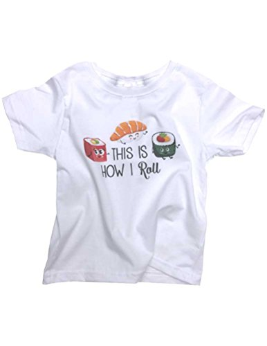 Hello Handmade This Is How I Roll Japanese Sushi Funny Infant Toddler Soft Shirt (3T, White)