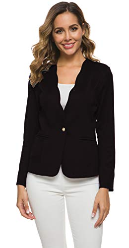 Women's One Button Slim Fit Casual Office Work Blazer Suit Jacket Black, Small
