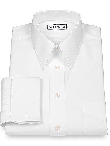 French Cuff Oxford Oxford Shirt - Paul Fredrick Men's Pinpoint European Straight Collar French Cuff White 17.5/37