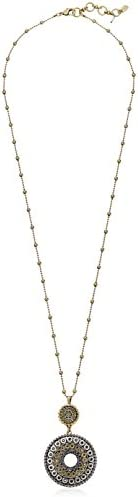 Lucky Brand Two Tone Tribal Pendant Necklace, 30″ + 1.5″ Extender
