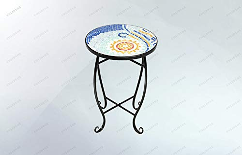 (COLIDYOX>Outdoor Indoor Accent Table Plant Stand Scheme Garden Steel Ocean, Lightweight Construction, Black Finish Metal Construction,Features Round Glass top with Blue Ocean Tile Mosaic Inlay top.)