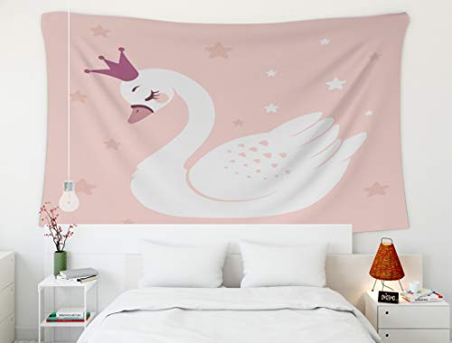 Crannel Halloween Cute Princess swan Pink Background Cartoon Can be Used t-Shirt Print Kids wear Fashion Tapestry 80x60 Inches Wall Art Tapestries Hanging for Dorm Room Living Home Decorative ()