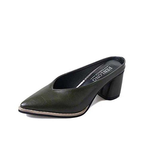 Talla Mujer Informal para de 34 Summer Block Yellow Vestimenta Comfort Black Heel Chanclas y Zapatillas Verde Green 39 Toe Pointed tAapw