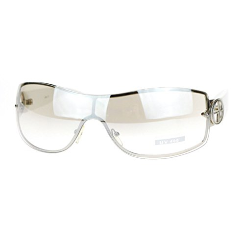 Womens Elegant Rimless Shield Warp Luxury Designer Sunglasses White - Clear Rimless Sunglasses