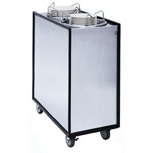 Mobile Lowerator Dispensers Two Tubes - APW Wyott Lowerator Enclosed Mobile Adjustube II Heated 2 Tubes Plate Dispenser - One 3 1/2 to 9 1/8 inch China Size -- 1 each.