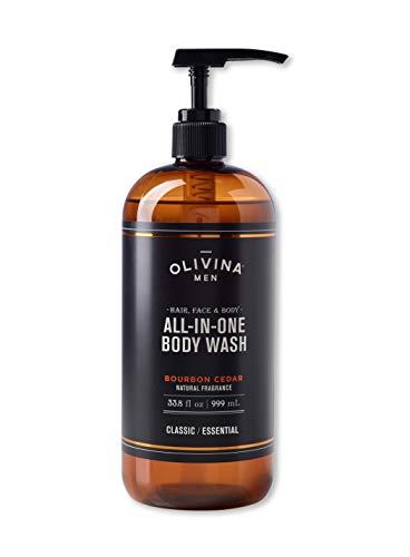 Gel Scented Cologne - Olivina Men Hair, Face & Body All-in-One Wash, Bourbon Cedar, 33.8 Fl. Oz.