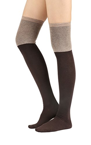 Womens Cable Check Stripe Pattern Over The Knee High Socks (One Size : XS to M, Two Tone Brown-1Pair)