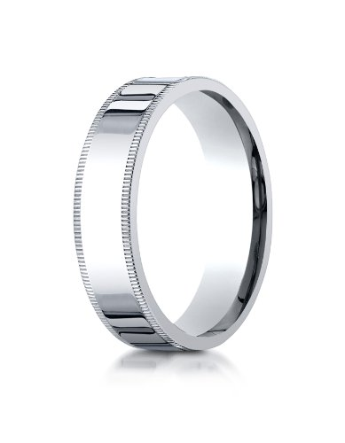 PriceRock Platinum 6mm Flat Comfort-Fit Wedding Band Ring for Men & Women Size 4 to 15 with Milgrain ()
