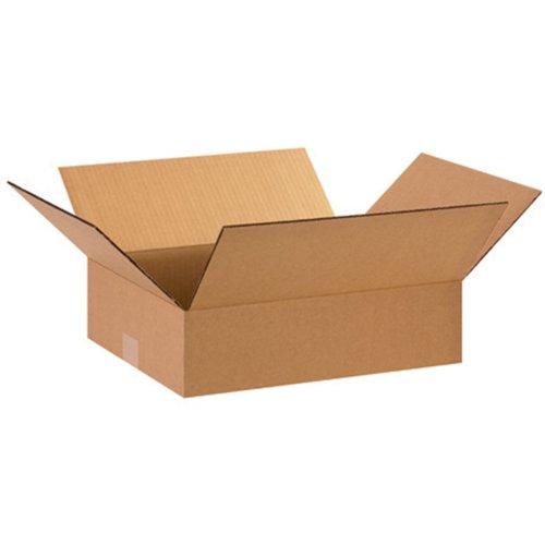 Aviditi 15124 Flat Corrugated Box, 15'' Length x 12'' Width x 4'' Height, Kraft (Bundle of 25) by Aviditi